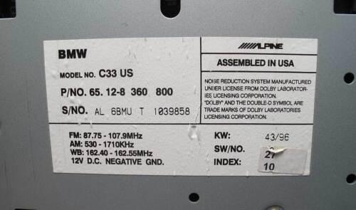 BMW E39 5-Series C33 Radio Cassette Factory Head Unit 1997-1998 USED OEM Alpine