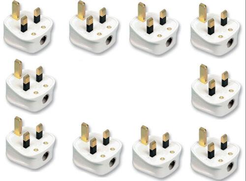 10 x 13 Amp UK 3 broches soudées blanc secteur Plastique Plug 13 A Pack Socket vrac BS1363