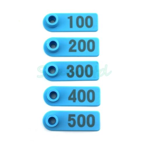 1Set 1-500 Number Blue Ear Tag Plastic Livestock Tag For Goat Sheep Pig Cow