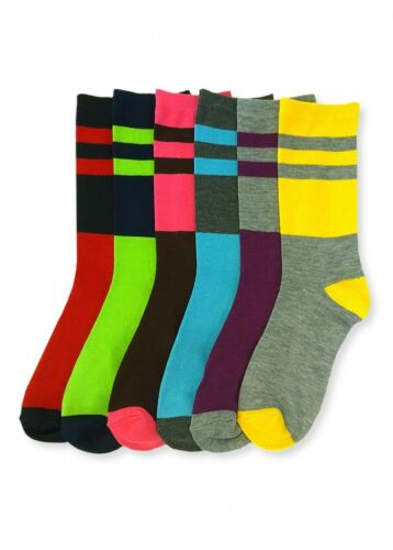 6 Pairs Women Comfort Socks Girls 2L Pattern Long Crew Pack 9-11 Lot