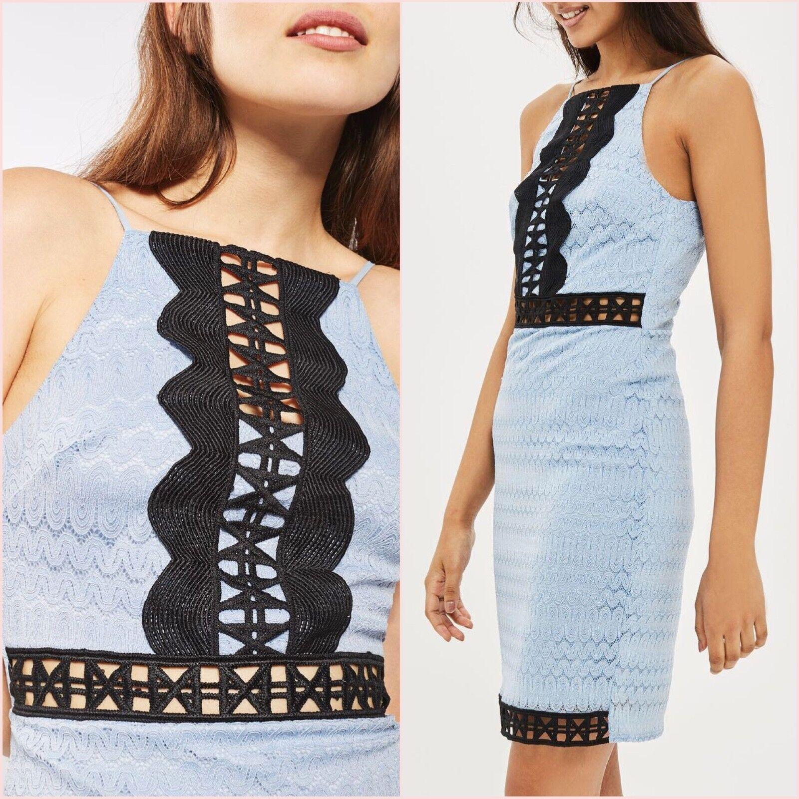 Topshop Petite bluee Crochet Lace Bodycon Mini Dress Size 8 14 US 2 10 Blogger