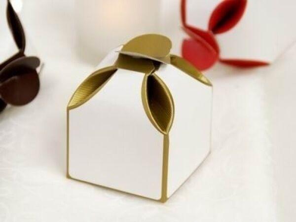 100 x Wedding Bridal  Bomboniere Favour Box Baby Shower Birthday Two Tone Gold
