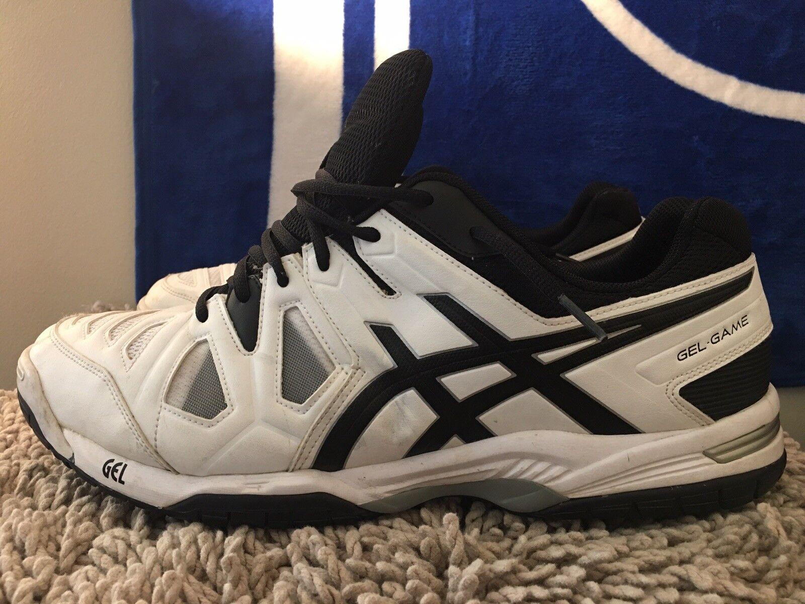 Asics Gel-Game 5, E506Y, blancoo negro, zapatos tenis Hombre, Talla 14