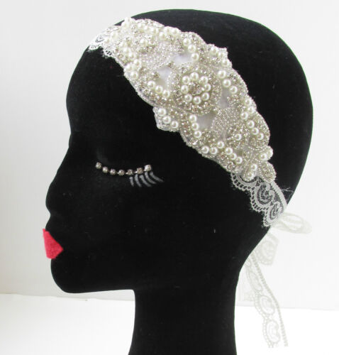 Ivory White Silver Pearl Lace Headband Vintage 1920s Bridal Great Gatsby 30s V72