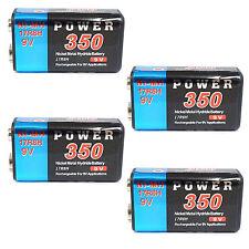 4 pcs 9V 9.0V Volt 350mAh Ni-MH rechargeable battery PP3 block Power US Stock