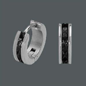 Das Bild wird geladen Titan-Titanium-Klappcreolen-Kreolen-Ohrringe -Onyx-schwarz-Silber- 8ae2fe7276
