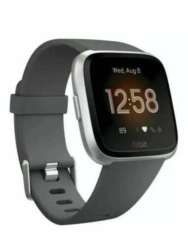 Fitbit Versa Lite Smartwatch, Charcoal/Silver Aluminum, One