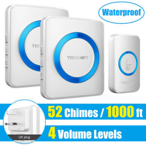 Wireless Doorbell TeckNet Twin Waterproof Wall Plug in Cordless Door Chime Kit