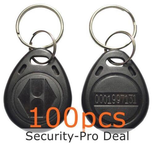 100pcs 125KHZ RFID Card Keyfobs EM4100 TK4100 Proximity ID Keyfobs+Keychains TOP