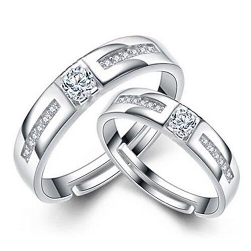 Damen Herren Silber Plattiert Kristall Ring Partnerringe Verlobungsring