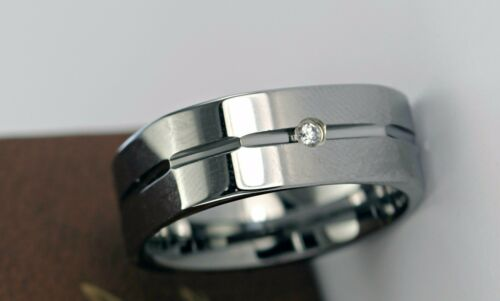 Details about  /NEW Tungsten Carbide Ring 6mm Mens Wedding Diamond Band Genuine .03ct 2mm Sz7-13