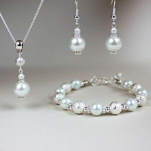 White Pearl Necklace Bracelet Earrings Silver Wedding Bridesmaid