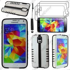 Coque TPU Demi Pliable Noir Samsung Galaxy S5 et S5 New+Mini Stylet+3 Film écran