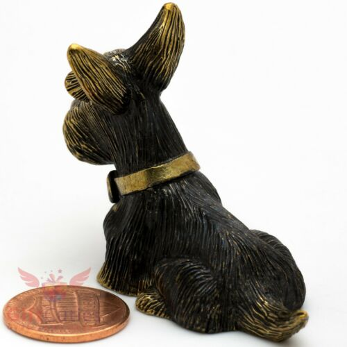 Solid Brass Figurine Scottish Terrier with bow-knot dog IronWork