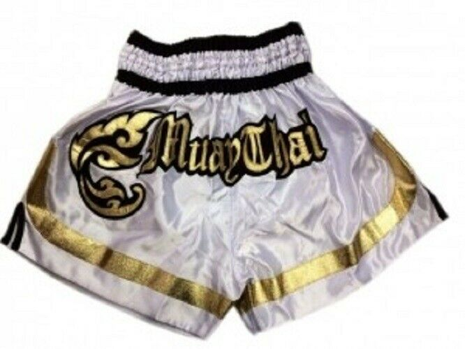 Woldorf  Boxing Muay Thai Shorts in Satin Embroidery white  customers first