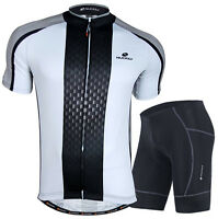Mens Cycling Jersey Padded Shorts Bicycle Wear Outdoor Bike Uniforms Clothing
