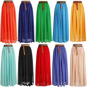 HOT-SALE-Women-Girls-Chiffon-pleated-Long-Maxi-Skirt-Vintage-Dress-Retro-L1