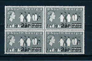 SOUTH GEORGIA 1977 DEFINITIVES SG57 2½p on 2½d BLOCK OF 4 MNH