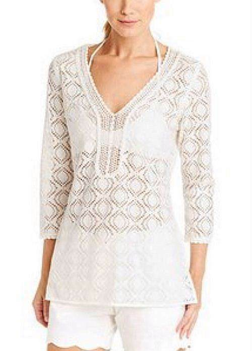 J McLAUGHLIN WHITE LACE BEACH COVER UP SZ SM NWT  165