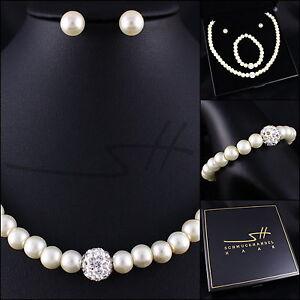 Perlen-Set-Halskette-Armband-Ohrstecker-Weissgold-pl-Swarovski-Elements-Etui