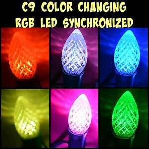 led c9 light bulb christmas new color changing synchronized no controller needed ebay. Black Bedroom Furniture Sets. Home Design Ideas