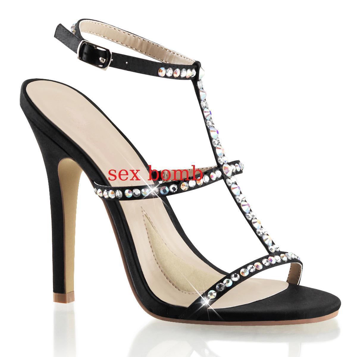 SEXY sandali STRASS STRASS STRASS TACCO 11,5 dal 35 al 41 NERO SATIN scarpe fashion GLAMOUR   7b9b97
