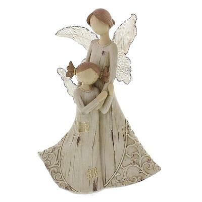 Wood Carved Angels Mother with Girl Figurine 61031