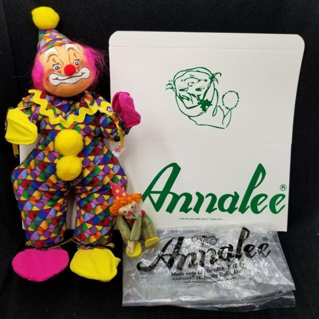 "Annalee Mobilitee 12"" Circus Clown Doll 296799 Pink Hair Red Nose 1999 Vintage"