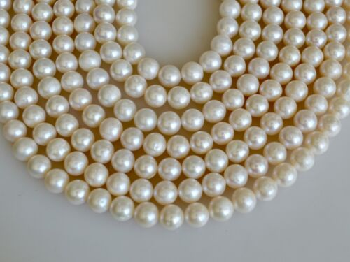 #572 8-8.5 mm High Luster Natural White Potato Genuine Freshwater Pearl Beads