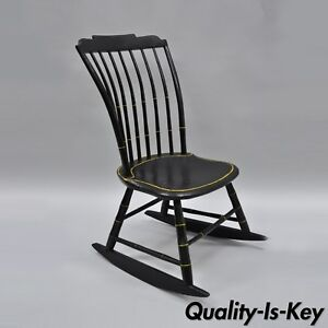 Amazing Details About Antique Childs Black Bow Back Windsor Rocker Rocking Chair Hitchcock Style Pdpeps Interior Chair Design Pdpepsorg