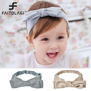 2512bd9bbfb0 Image is loading Baby-Headband-Cute-Baby-Stripe-Elastic-Cloth-Bowknot-