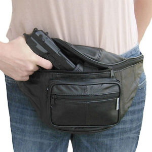 Image is loading Leather-CCW-Concealed-Fanny-Pack-w-Gun-Holster- 70f1673e1abb