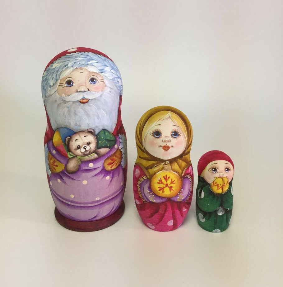 Matryoshka Russian  Wooden Nesting bambolas - 3 Pieces Unique Coloreeing Set  6  presa di marca