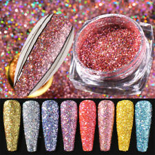 Rose Gold Holographics Laser Nail Art Glitter Powder Silver Nail Pigment Dust