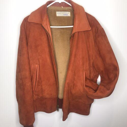 VTG Men's Suede And Leather Jacket 1970s Burnt Ora