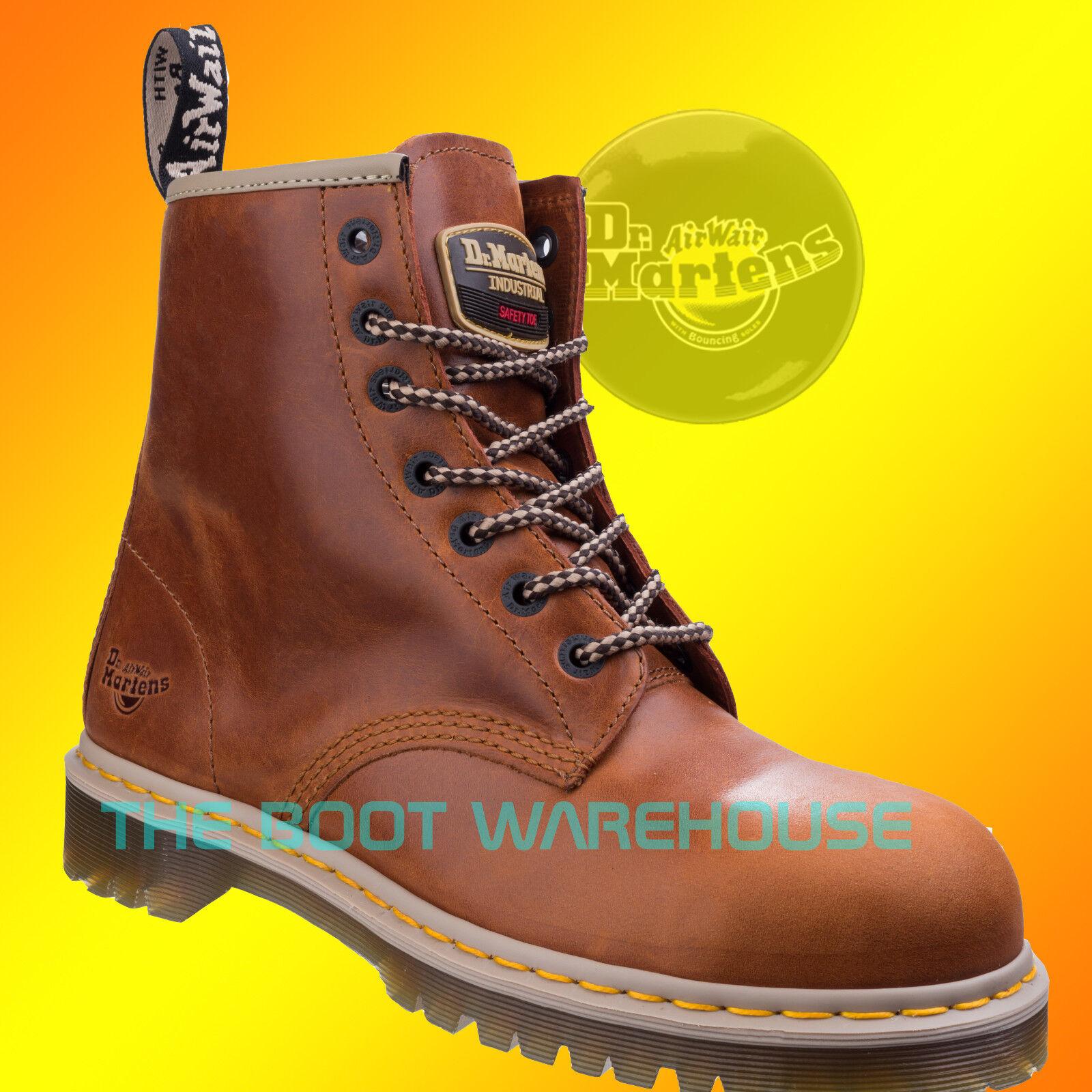 Doc Marten Dr Martens 7B10 Tan 7 Eyelet Steel Toes Safety Work Boot UK Size 10