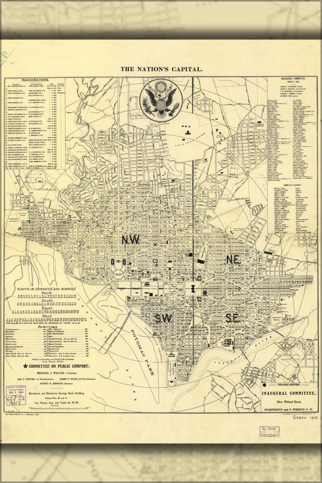 Poster, Many Größes; 1909 Map Of Washington, Dc