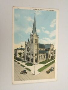 J1123-Postcard-Cathedral-of-the-Holy-Name-Chicago-IL-Illinois-church-1920