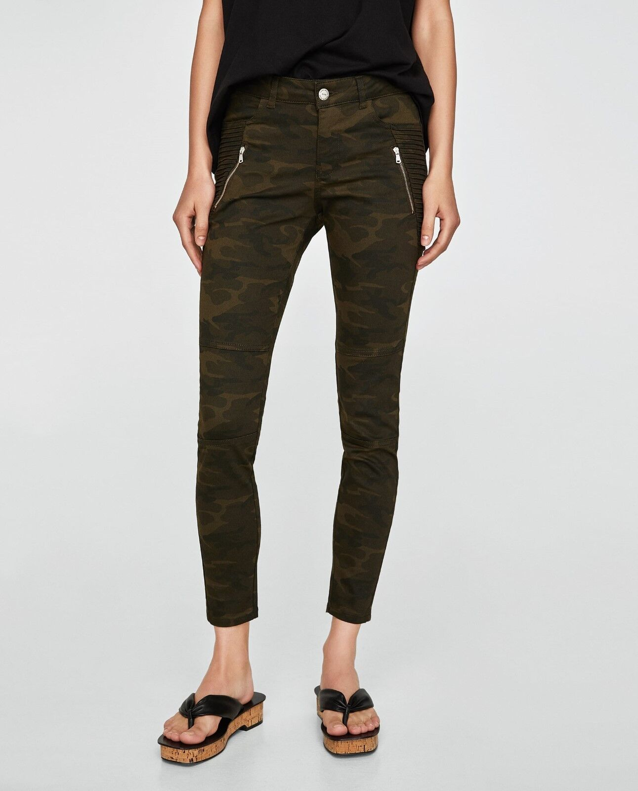 NWT ZARA POWER STRETCH CAMOUFLAGE TROUSERS SIZE 4 SOLD OUT