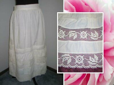 Broderie Anglaise Vintage Edwardian Skirt 24-27W XS S Lace Petticoat