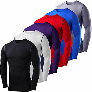Mens-Compression-Armour-Bodybuilding-Top-Long-Sleeve-Thermal-Gym-Sports-T-shirts