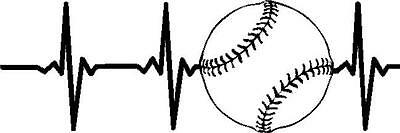 Baseball Heartbeat vinyl decal//sticker window sports catcher bases pitcher bat