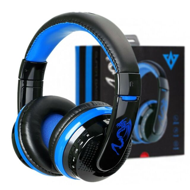 Bluetooth 4.0 Headset Wireless Stereo Super Bass Music Headphone with Mic Blue