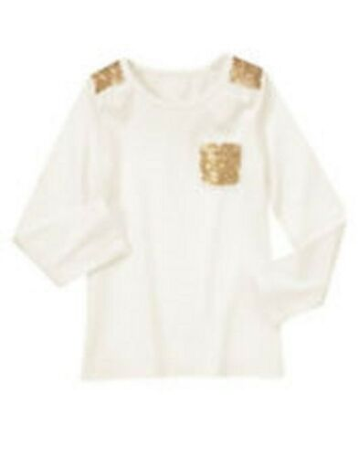 NWT Gymboree Girls Snowflake Glamour Ivory With Gold Sequin Top Size 5