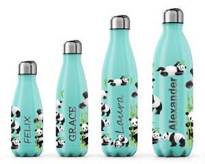 Personalised Name Panda Water Bottles Engraved Christmas Gift for Him Her Kids