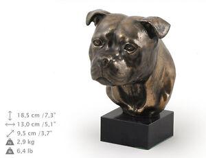 Staffordshire Bull Terrier, Hundemarmorstatue Büste, ArtDog, DE