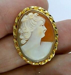Genuine Italian Carved Shell Antique Cameo Pendant Vintage Cameo Brooch