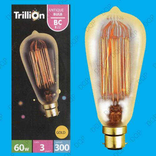 2x 60W or antique style vintage écureuil cage dimmable ampoule bc B22 lampe