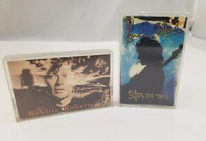 Rock-n-Roll-Cassette-Tapes-Set-of-2-Robbie-Robertson-amp-Ronnie-Wood-Slide-On-This