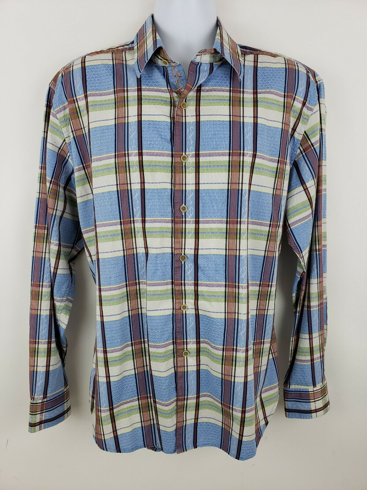 e6b1618e4 Robert bluee Plaid Sleeve Button Front Men's Shirt Size XL Long Graham  nnriqe1067-Casual Button-Down Shirts